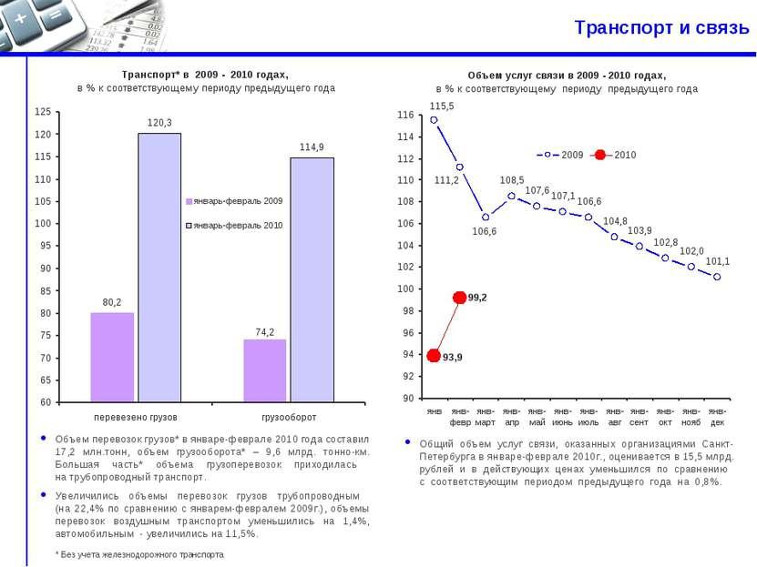 Транспорт и связь Объем перевозок грузов* в январе-феврале 2010 года составил...