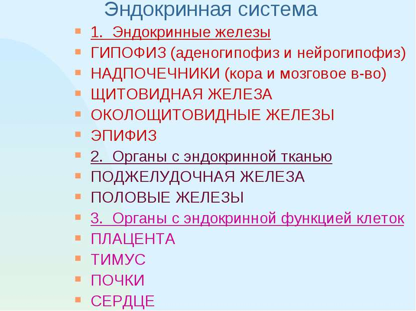 Эндокринная система 1. Эндокринные железы ГИПОФИЗ (аденогипофиз и нейрогипофи...