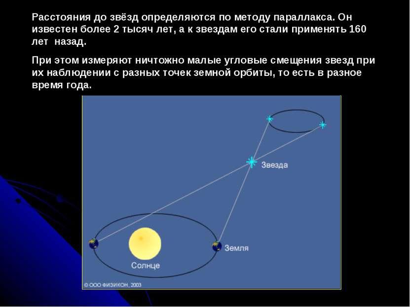 Расстояния до звёзд определяются по методу параллакса. Он известен более2 ты...
