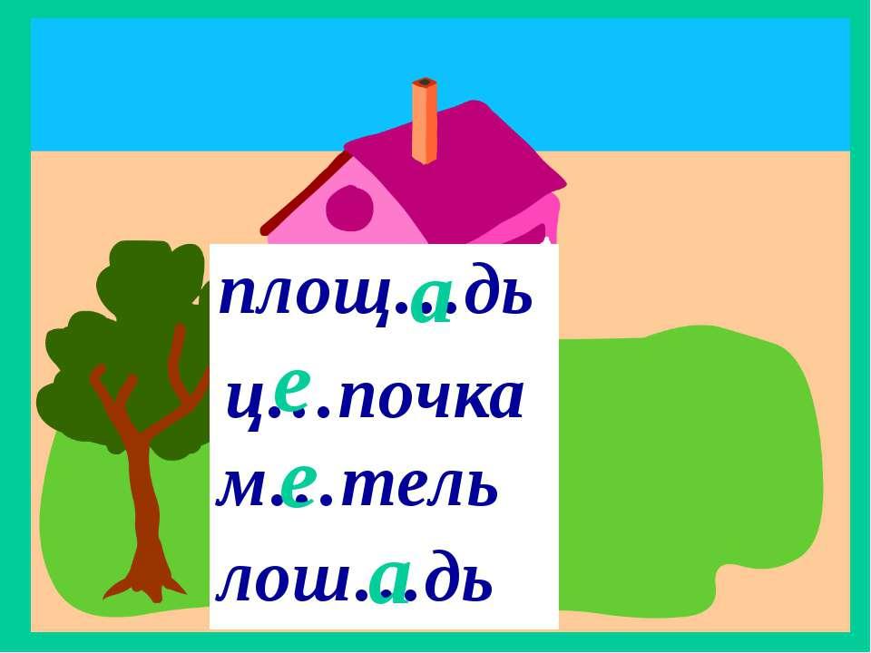 ж.р. 3 склонение ц…почка е е а а площ…дь м…тель лош…дь