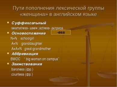 Пути пополнения лексической группы «женщина» в английском языке Суффиксальный...
