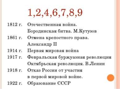 1,2,4,6,7,8,9 1812 г. 1861 г. 1914 г. 1917 г. 1918 г. 1922 г. Отечественная в...