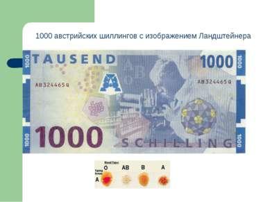 1000 австрийских шиллингов с изображением Ландштейнера