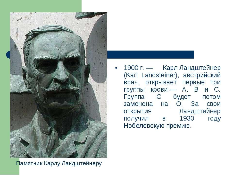1900г.— Карл Ландштейнер (Karl Landsteiner), австрийский врач, открывает пе...