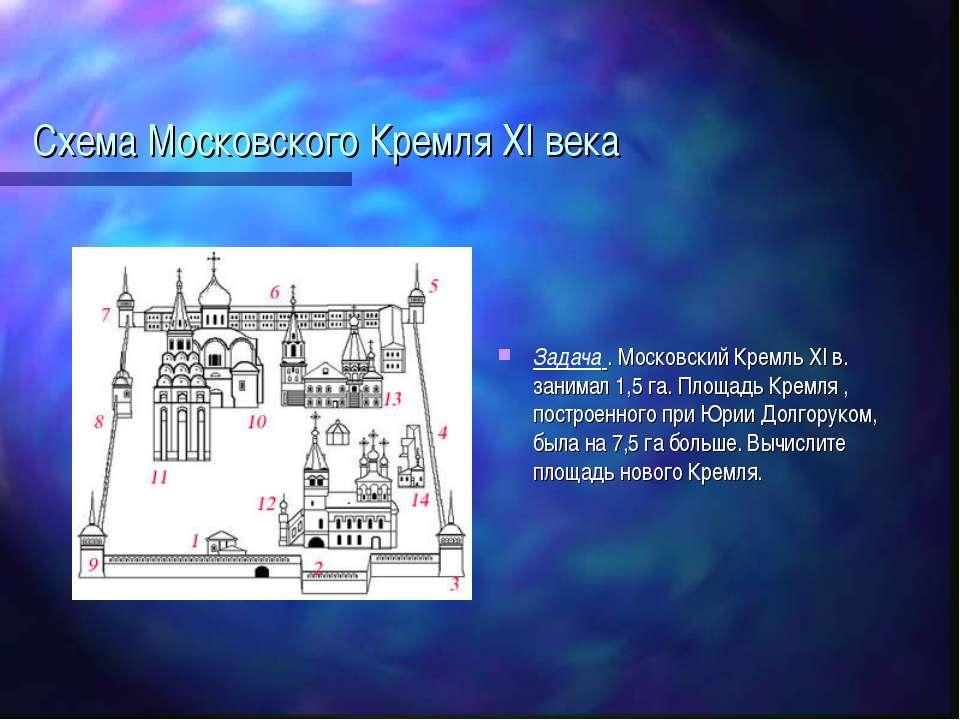 Схема Московского Кремля XI века Задача . Московский Кремль XI в. занимал 1,5...
