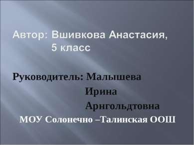 Руководитель: Малышева Ирина Арнгольдтовна МОУ Солонечно –Талинская ООШ