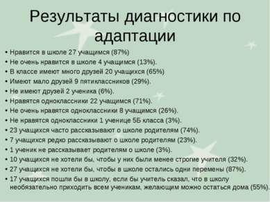 Результаты диагностики по адаптации Нравится в школе 27 учащимся (87%) Не оче...