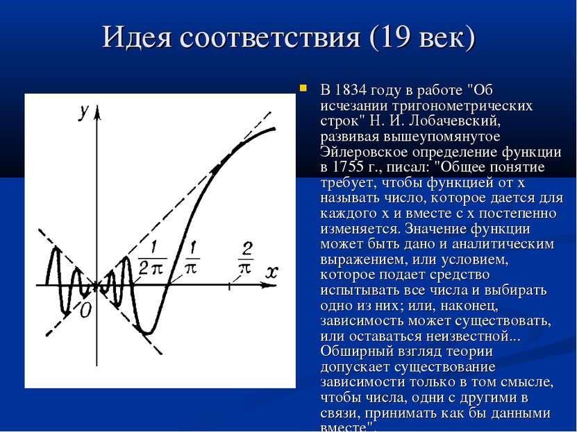 """Идея соответствия (19 век) В 1834 году в работе """"Об исчезании тригонометричес..."""