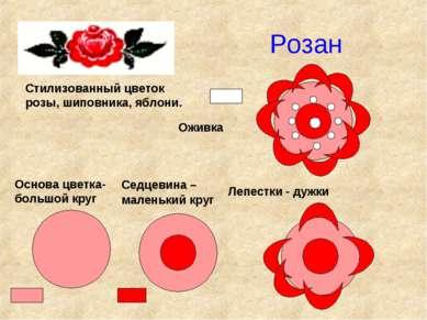 Розан Стилизованный цветок розы, шиповника, яблони. Основа цветка- большой кр...