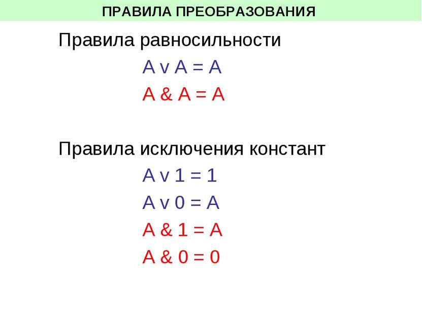 ПРАВИЛА ПРЕОБРАЗОВАНИЯ Правила равносильности А v A = А A & A = A Правила иск...