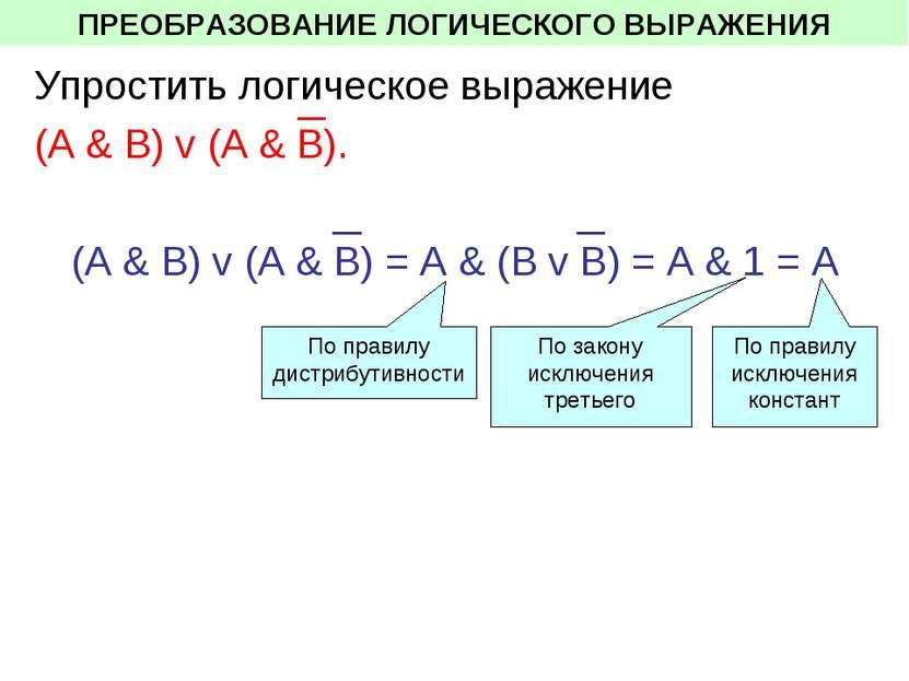 ПРЕОБРАЗОВАНИЕ ЛОГИЧЕСКОГО ВЫРАЖЕНИЯ Упростить логическое выражение (A & В) v...