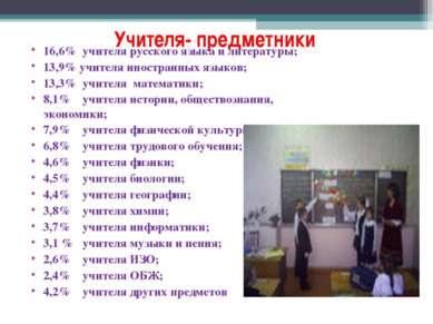 Учителя- предметники 16,6% учителя русского языка и литературы; 13,9% учителя...