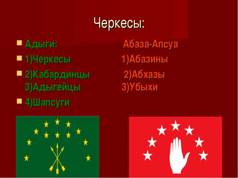 Черкесы: Адыги: Абаза-Апсуа 1)Черкесы 1)Абазины 2)Кабардинцы 2)Абхазы 3)Адыге...