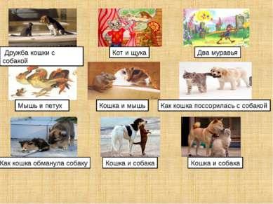 Дружба кошки с собакой Кот и щука Два муравья Мышь и петух Кошка и мышь Как к...