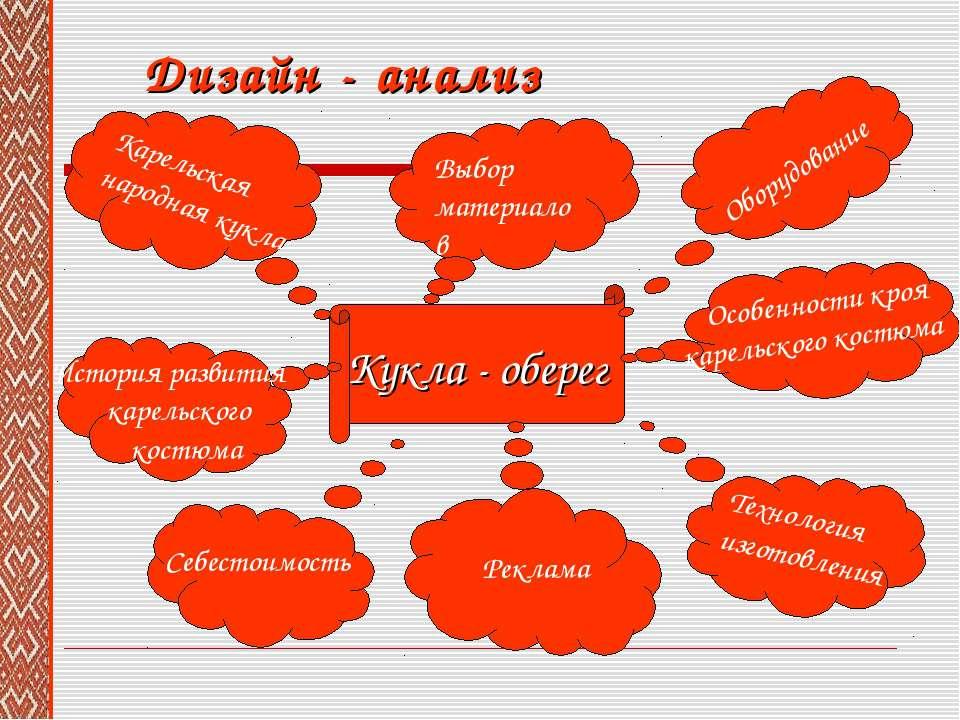 Дизайн - анализ Кукла - оберег Оборудование Особенности кроя карельского кост...
