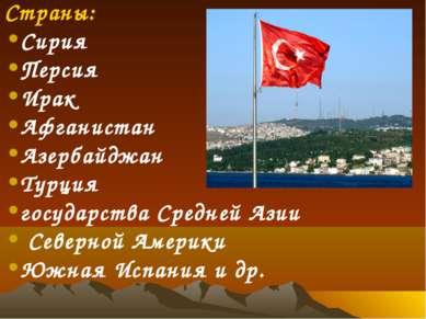 Страны: Сирия Персия Ирак Афганистан Азербайджан Турция государства Средней А...