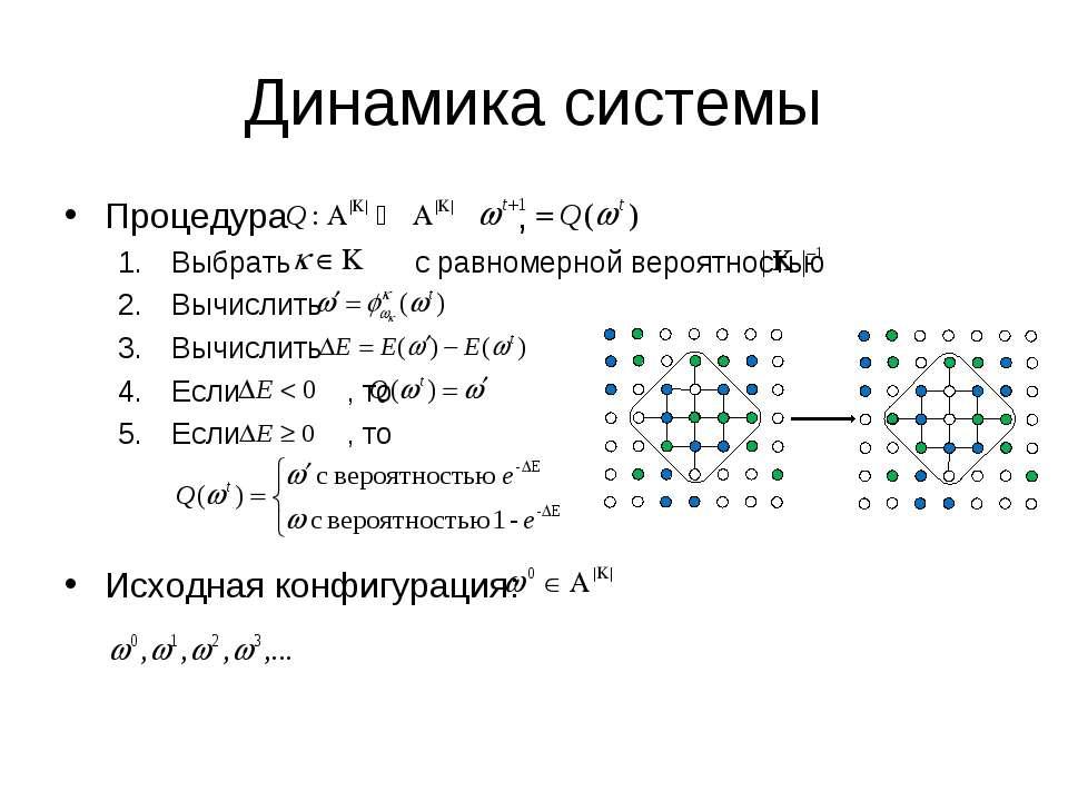 Динамика системы Процедура , Выбрать с равномерной вероятностью Вычислить Выч...