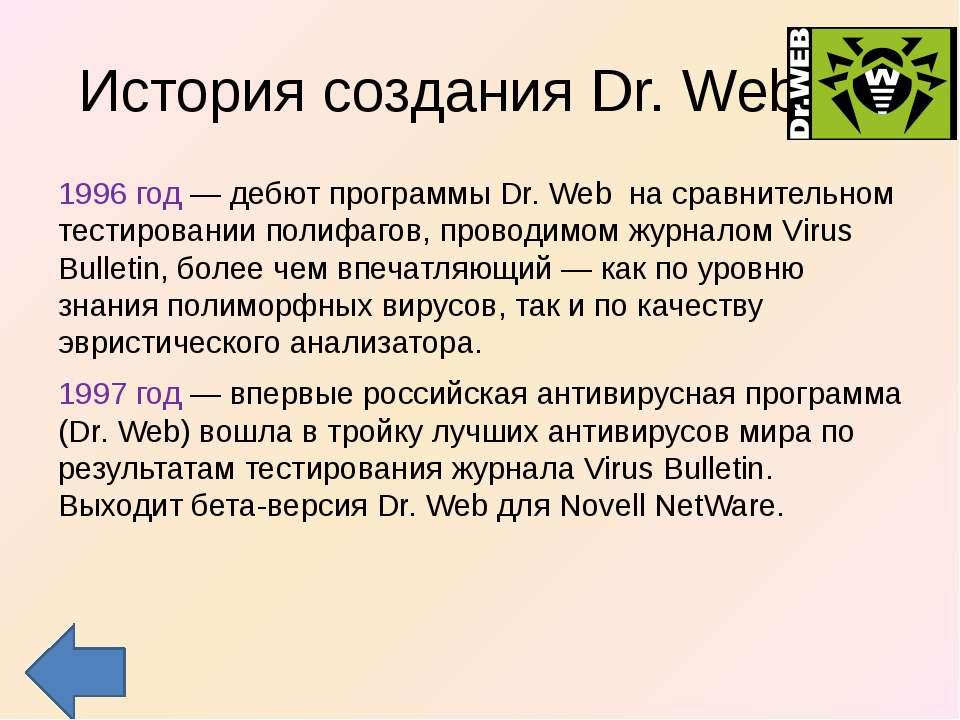 История создания Dr. Web 1996 год — дебют программы Dr. Web на сравнительном ...