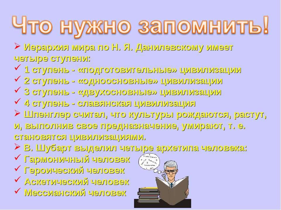 Иерархия мира по Н. Я. Данилевскому имеет четыре ступени: 1 ступень - «подгот...