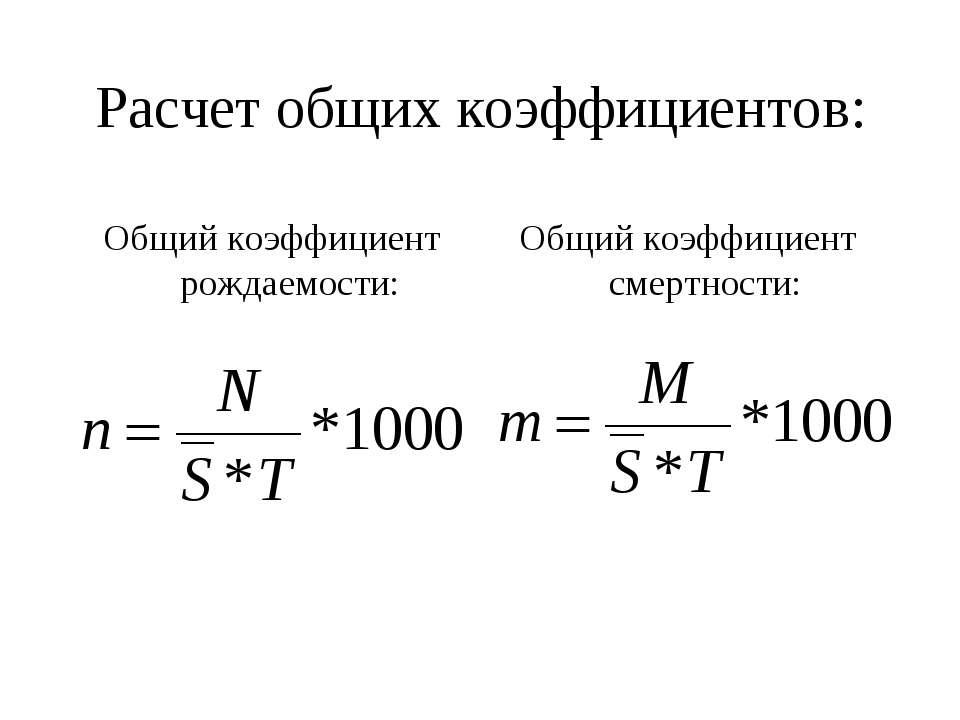 выбирать коэффициент рождаемости в статистике формула имеет