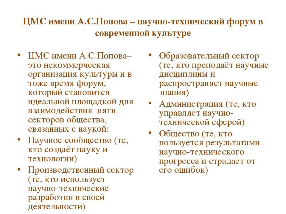 ЦМС имени А.С.Попова – научно-технический форум в современной культуре ЦМС им...