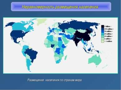 Неравномерность размещения населения Размещение населения по странам мира