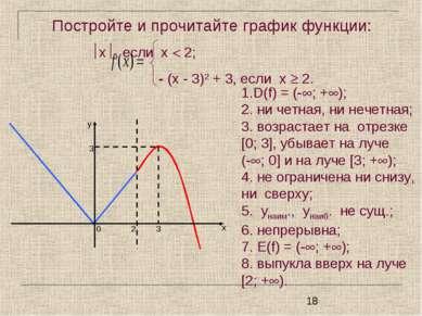 Постройте и прочитайте график функции: x , если х 2; - (х - 3)2 + 3, если х 2...