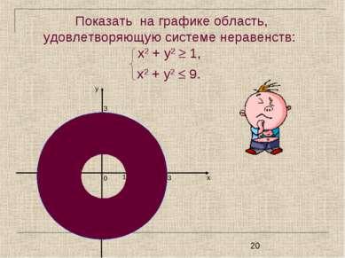 Показать на графике область, удовлетворяющую системе неравенств: х2 + у2 1, х...