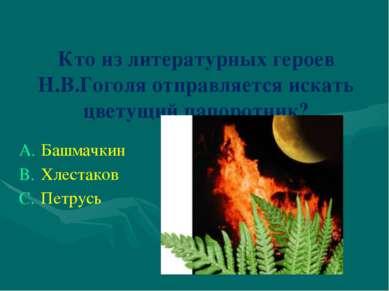 Кто из литературных героев Н.В.Гоголя отправляется искать цветущий папоротник...