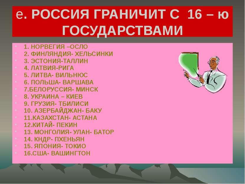 е. РОССИЯ ГРАНИЧИТ С 16 – ю ГОСУДАРСТВАМИ 1. НОРВЕГИЯ –ОСЛО 2. ФИНЛЯНДИЯ- ХЕЛ...