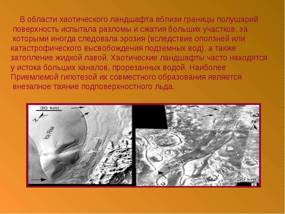 В области хаотического ландшафта вблизи границы полушарий поверхность испытал...
