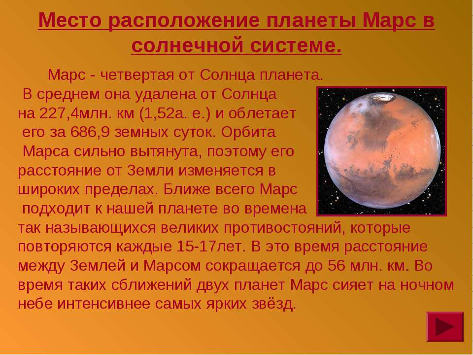 Место расположение планеты Марс в солнечной системе. Марс - четвертая от Солн...