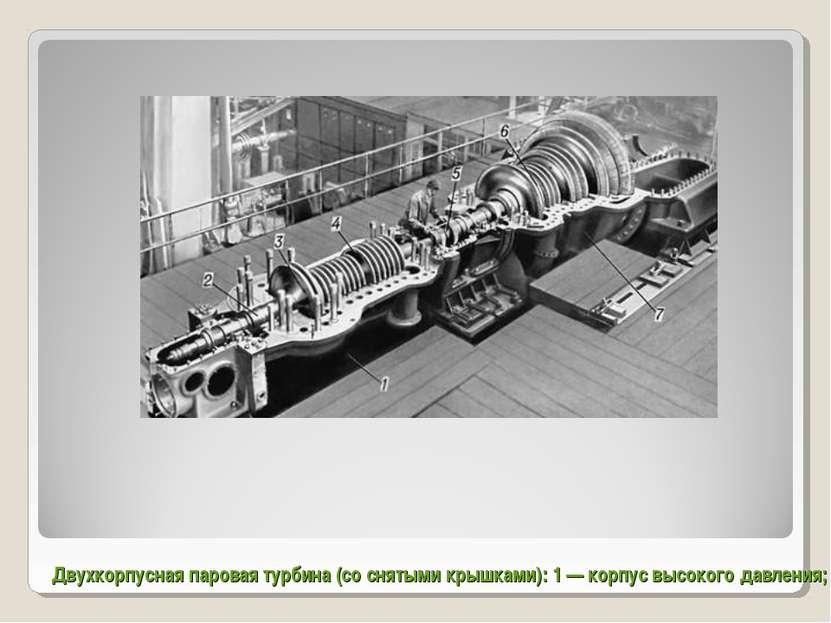 Двухкорпусная паровая турбина (со снятыми крышками): 1 — корпус высокого давл...