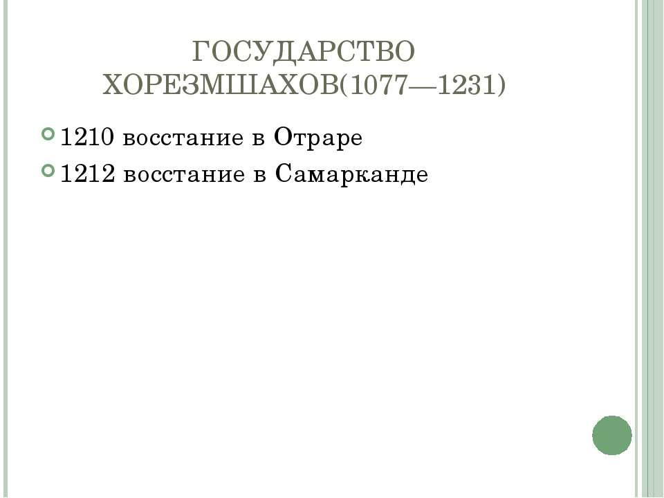 ГОСУДАРСТВО ХОРЕЗМШАХОВ(1077—1231) 1210 восстание в Отраре 1212 восстание в С...