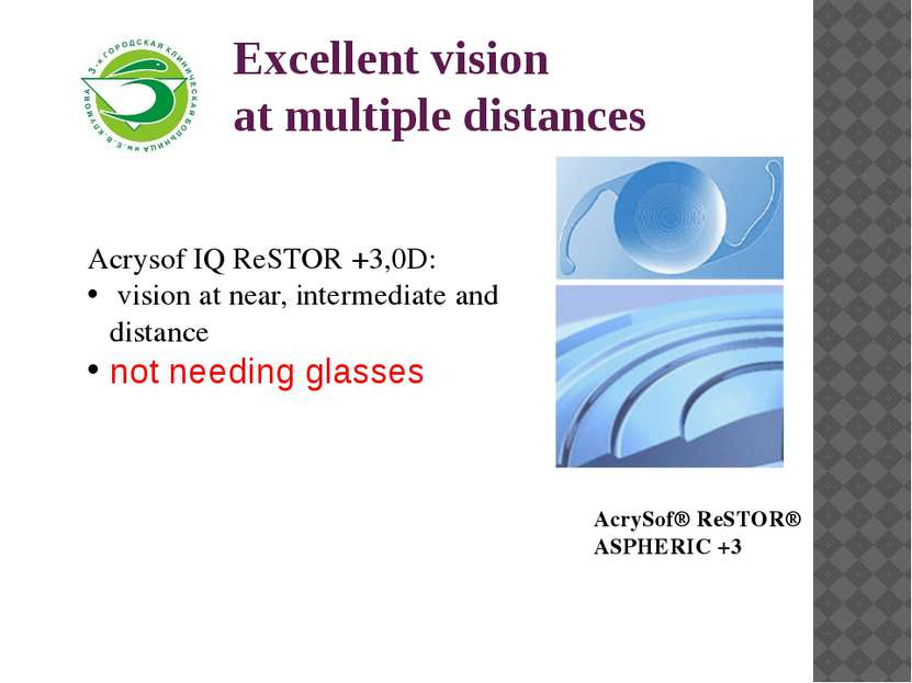 Excellent vision at multiple distances Acrysof IQ ReSTOR +3,0D: vision at nea...