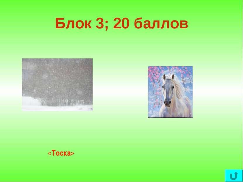 Блок 3; 20 баллов «Тоска»