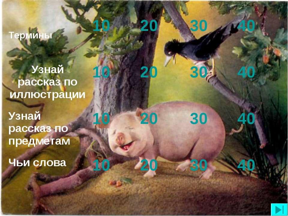 Термины 10 20 30 40 Узнай рассказ по иллюстрации 10 20 30 40 Узнай рассказ по...