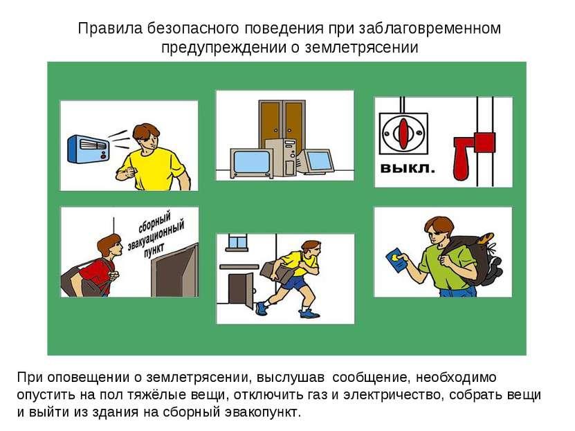Правила безопасного поведения при заблаговременном предупреждении о землетряс...