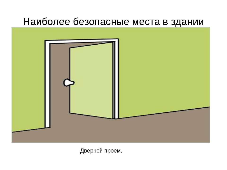 Наиболее безопасные места в здании Дверной проем.