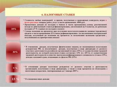 6. НАЛОГОВЫЕ СТАВКИ проф. д.э.н. Селезнева Н.Н.