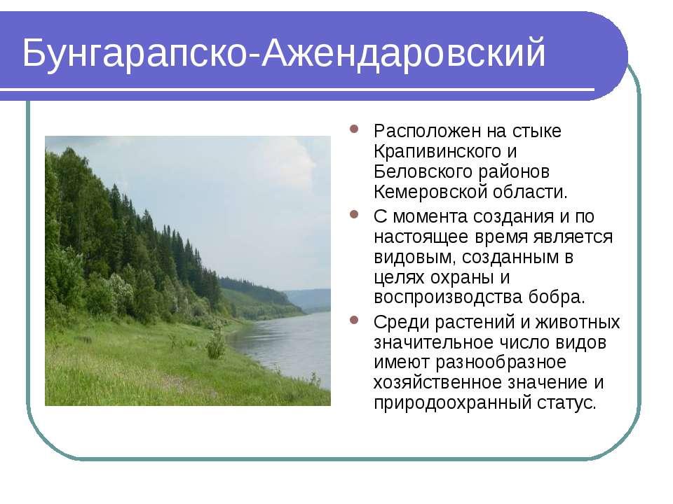 Бунгарапско-Ажендаровский Расположен на стыке Крапивинского и Беловского райо...