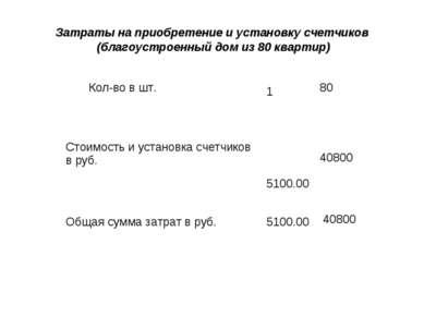 Затраты на приобретение и установку счетчиков (благоустроенный дом из 80 квар...