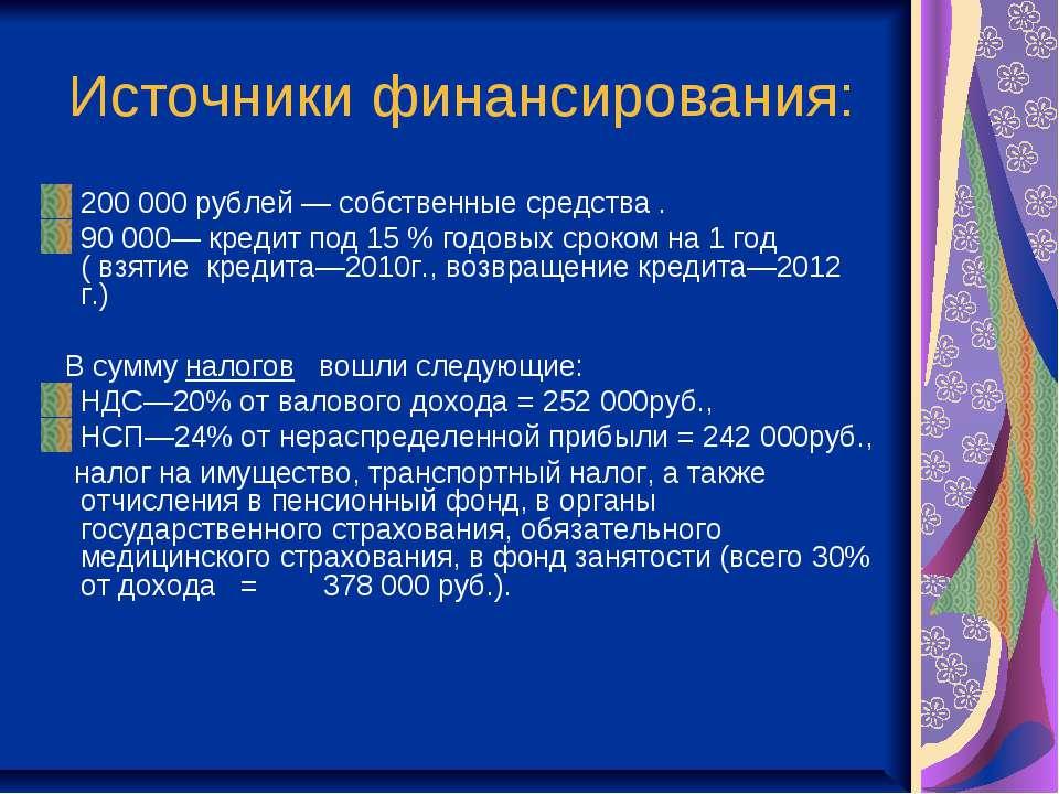 Источники финансирования: 200 000 рублей — собственные средства . 90 000— кре...