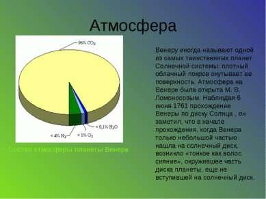 Атмосфера Состав атмосферы планеты Венера Венеру иногда называют одной из сам...