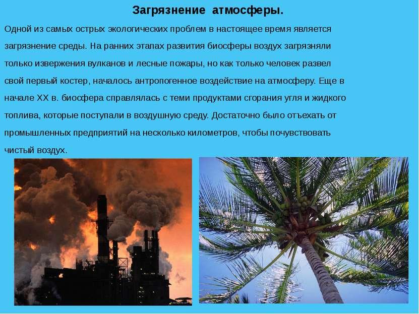 Загрязнение атмосферы. Одной из самых острых экологических проблем в настояще...