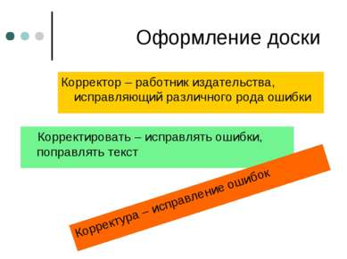 Оформление доски Корректор – работник издательства, исправляющий различного р...