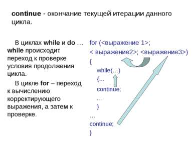 continue - окончание текущей итерации данного цикла. В циклах while и do … wh...