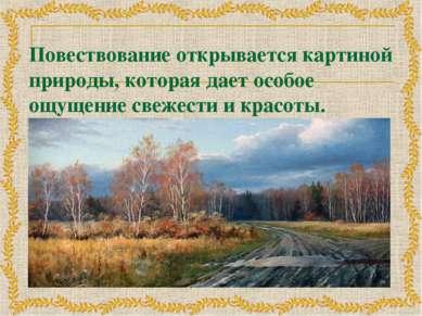 Повествование открывается картиной природы, которая дает особое ощущение свеж...