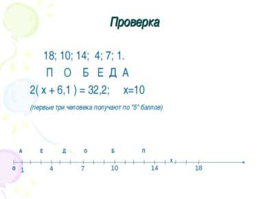 Проверка 18; 10; 14; 4; 7; 1. П О Б Е Д А 2( х + 6,1 ) = 32,2; х=10 (первые т...