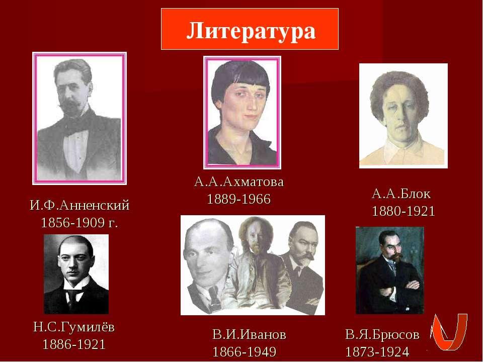 Литература И.Ф.Анненский 1856-1909 г. А.А.Ахматова 1889-1966 А.А.Блок 1880-19...